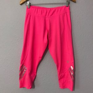 Adidas climalite pink reflective Capri leggings